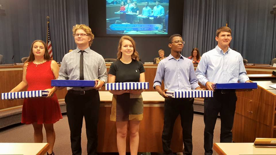 5 Hillsborough County Public School Perfect Attendance K-12 |Emilie Dunn, Newsome High School Pictured (Not Necessarily In Order) Ryan Ingraham, Sickles High School Jacob Lorentzen, Durant High School Logan Phillips, Pepin Academy Michael Stone, King High